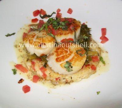 Sea Scallops pan seared with tomato risotto and sauteed spinach