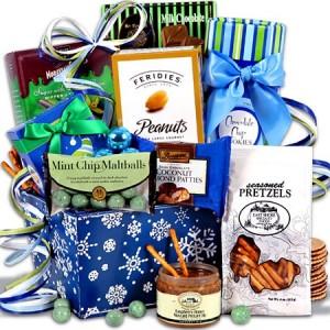 Holiday Sweets & Treats Snowflake Tin Christmas Gift Basket