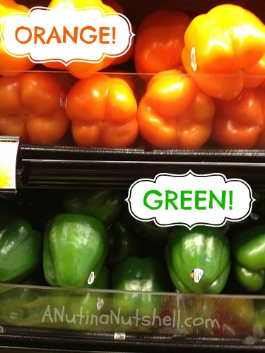 orange peppers and green peppers