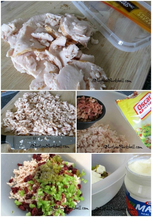 Cranberry and Bacon chicken salad collage