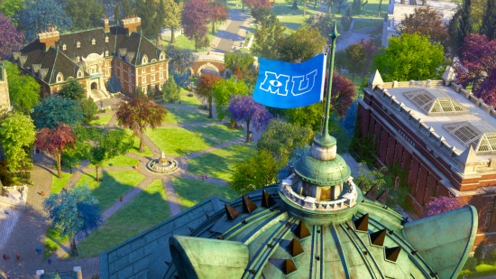 Monsters University campus aerial shot