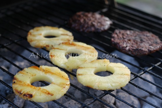 grilled pineapple and burgers