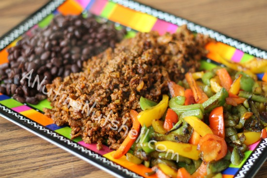 sauteed peppers, taco meat, black beans