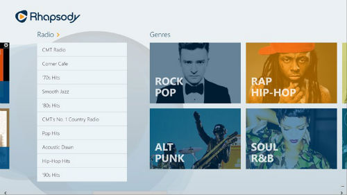 Rhapsody Windows 8 app