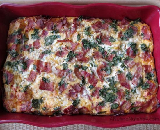 Sourdough bread breakfast casserole with bacon