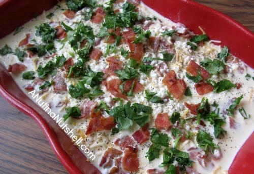 breakfast casserole ready for oven