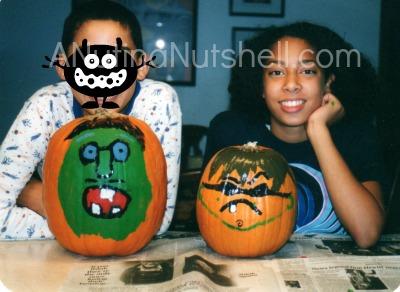 Halloween-kids-painted pumpkins