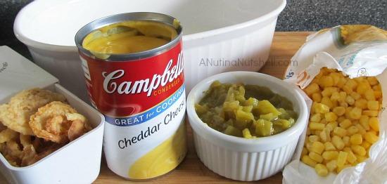 Cheesy Chile Corn Casserole ingredients