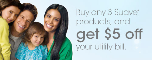 Buy 3 Suave products, get $5 off utility bill