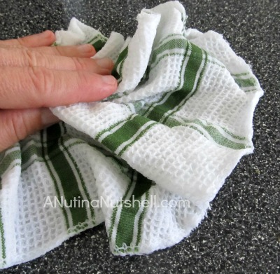 cleaning with dish cloth