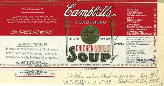 1938 Chicken Noodle Name Change Sketch