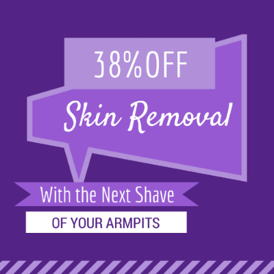 38-percent skin removal -shaving armpits