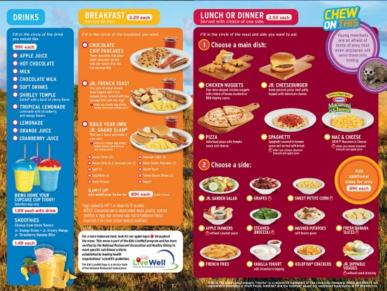 Denny's Kids Adventure Menu items
