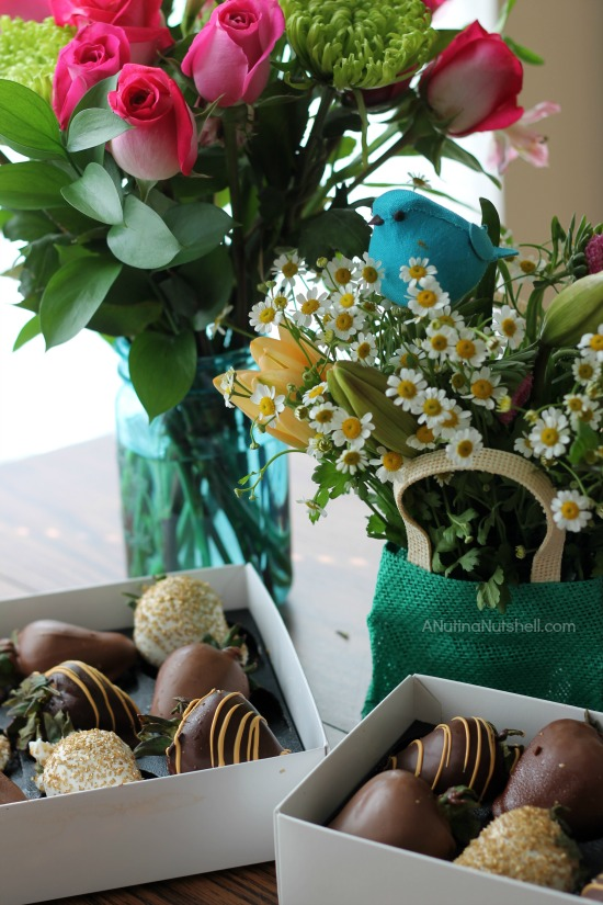 flower bouquets and chocolate dipped strawberries