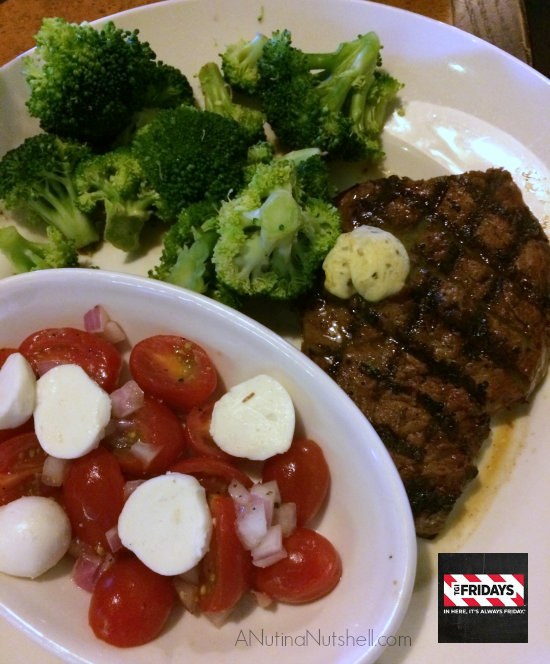 TGI Fridays Sirloin Steak, fresh broccoli, tomato mozzarella salad