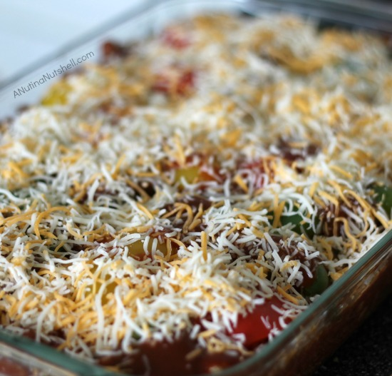 sprinkle cheese on stuffed pepper bake