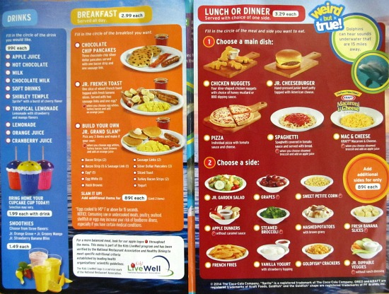 Denny's Kids Menu - National Geographic Kids Adventure Menu