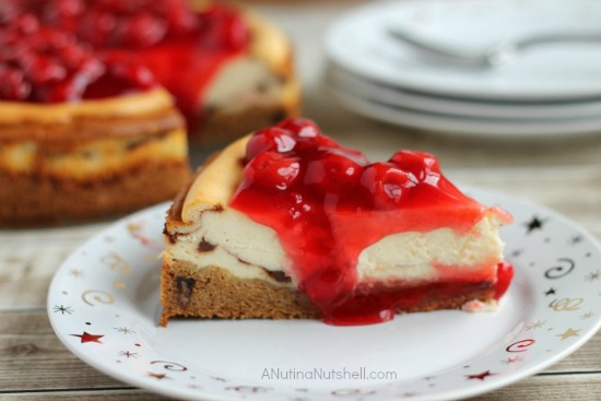 Cherry Topped Cheesecake with Triple Chocolate Chunk Cookie Crust - recipe