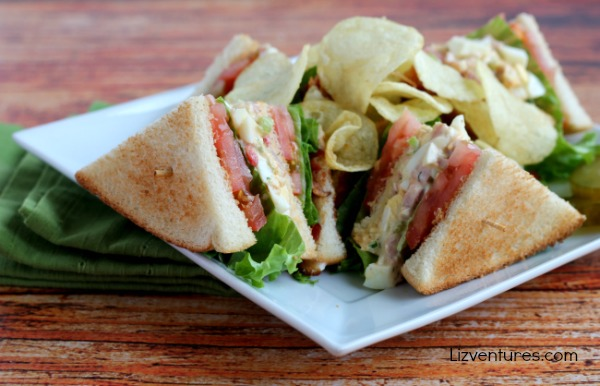 Ham and Egg Salad Club Sandwich recipe