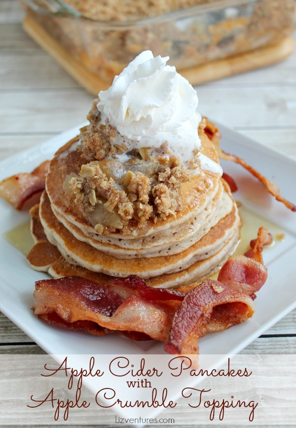 Apple Cider Pancakes with Apple Crumble Topping- recipe