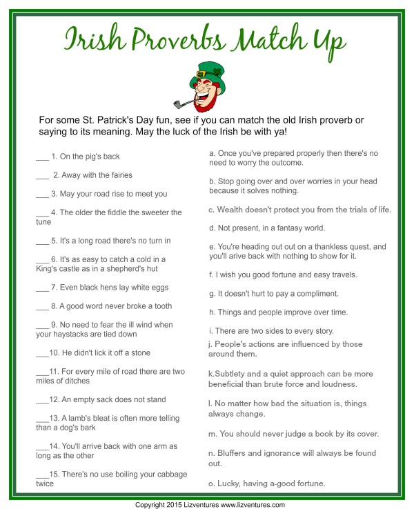 Irish blessings and sayings, printable game