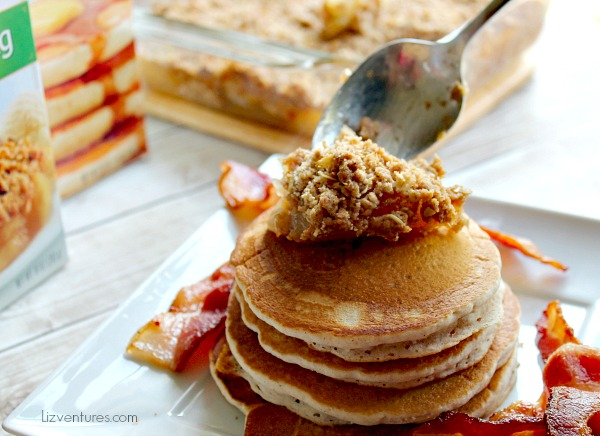 add add crumble topping to pancakes
