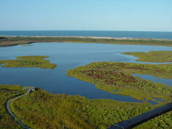 view of marshes from Bodie Island lighthouse