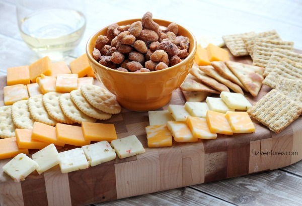 ways to serve nuts - nut, cheese and cracker tray