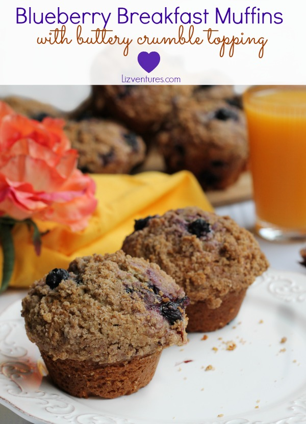 Blueberry breakfast muffins with buttery crumble topping