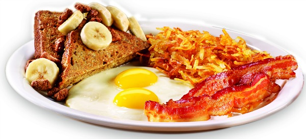 Denny's menu with a twist - Banana Bread French Toast Slam