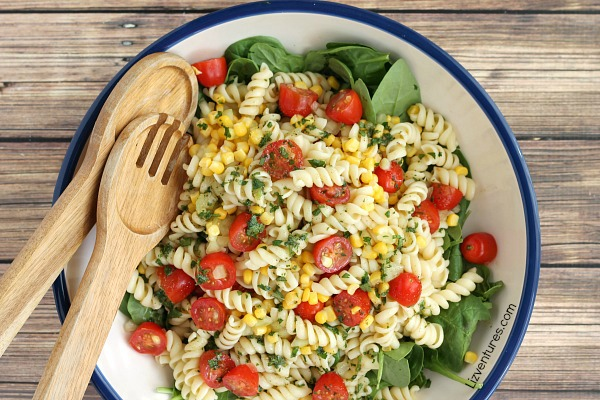 Garden Fresh Pasta Salad with Cilantro Lime Drizzle