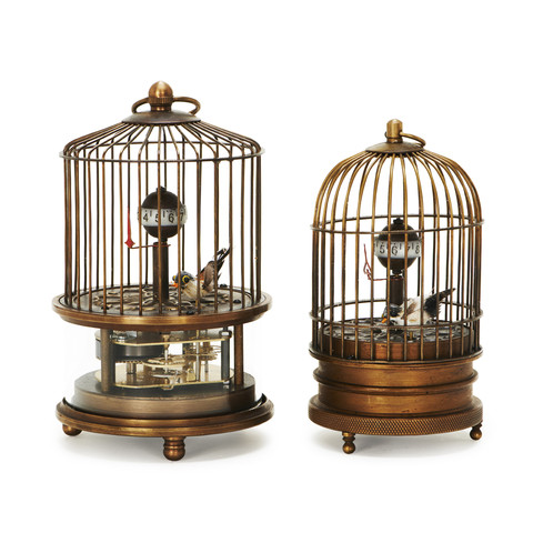 Laurier Blanc vintage moving birdcage clocks