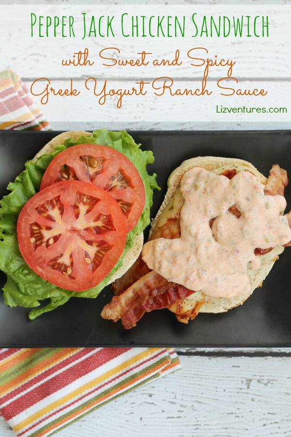 Pepper Jack Chicken Sandwich with Sweet and Spicy Greek Yogurt Ranch Sauce on plate
