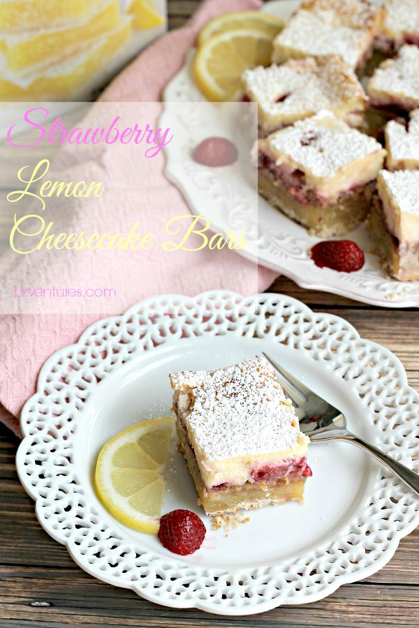 Strawberry Lemon Cheesecake Bars - recipe with Krusteaz