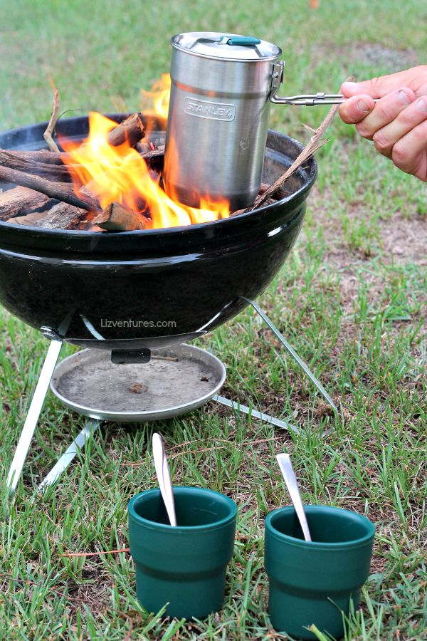 cooking beans over fire with Stanley Adventure Camp Cook Set